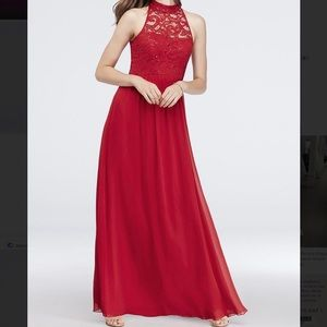 Illusion High Neck Lace & Chiffon A-Line Gown